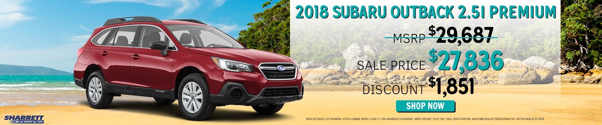 Get a new 2018 Subaru Outback 2.5I Premium | Sharrett Subaru