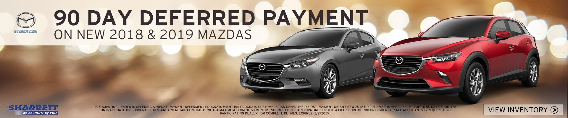 90 Day Deferred Payment on new 2018 and 2019 Mazdas