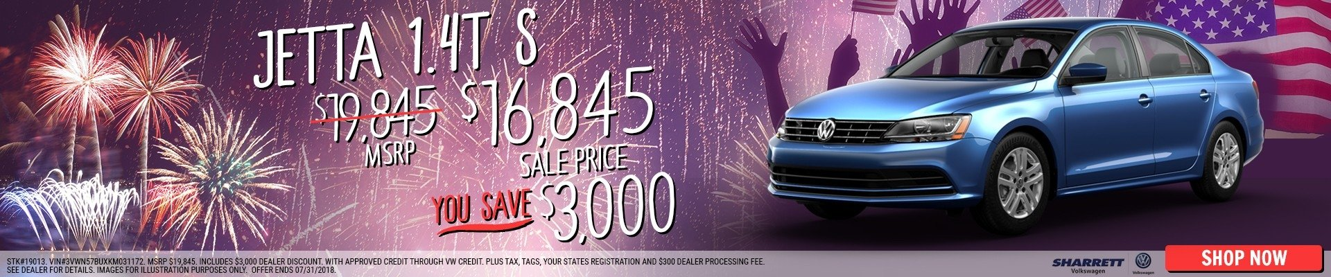 Save $3000 on a new 2018 Volkswagen Jetta S