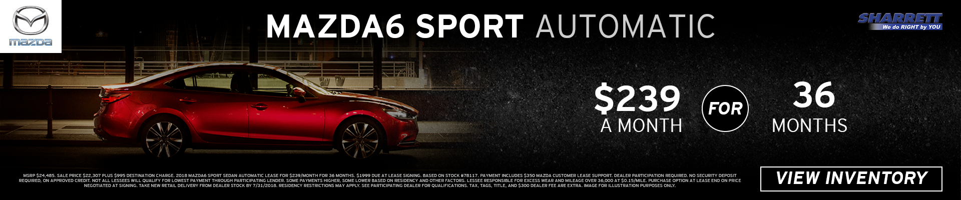 Lease a 2018 Mazda6 Sport for $239/mo for 36 months