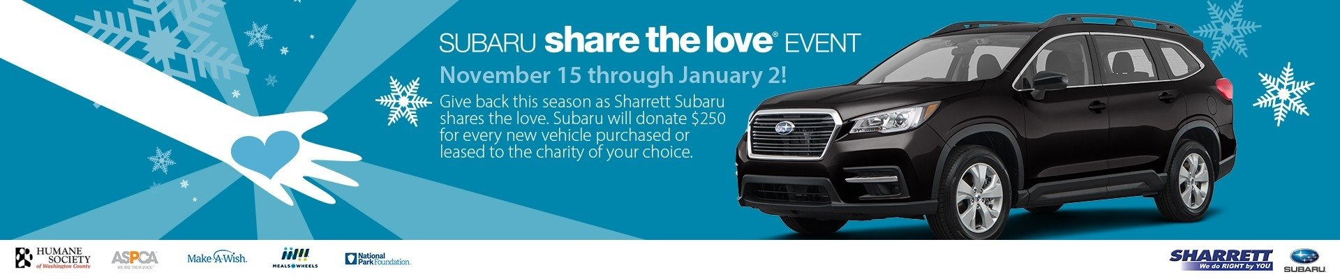 Sharrett Subaru Share the Love Event: Nov. 15 - Jan. 2!