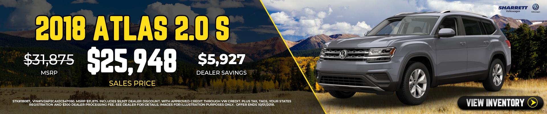 Get a new 2018 Atlas 2.0S for $25,948 | Sharrett Volkswagen
