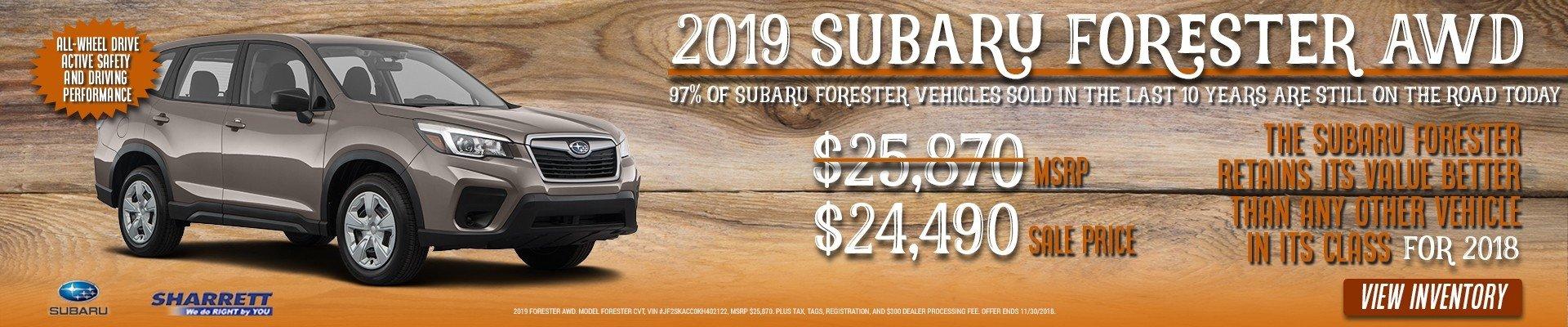 Get a 2019 Subaru Forester AWD for $24,490 at Sharrett Subaru of Hagertown, MD