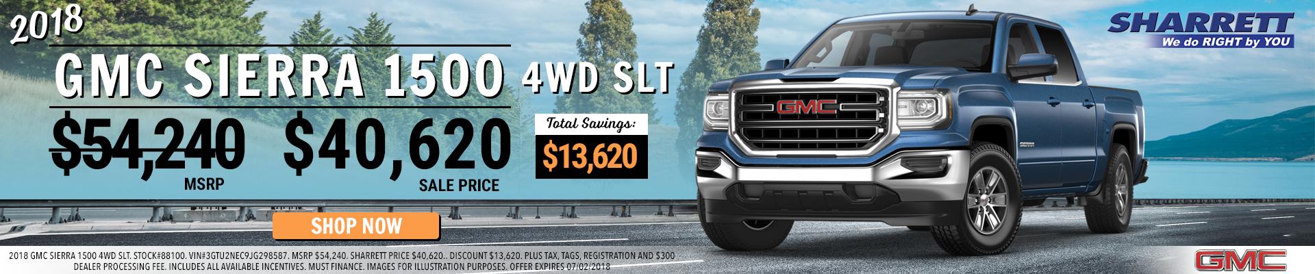 Save $13,620 on a New 2018 GMC Sierra 1500 4WD SLT