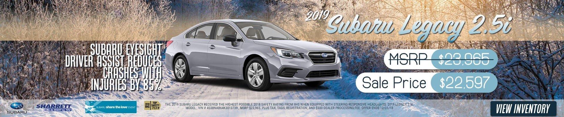2019 Subaru Legacy 2.5i for $22,597