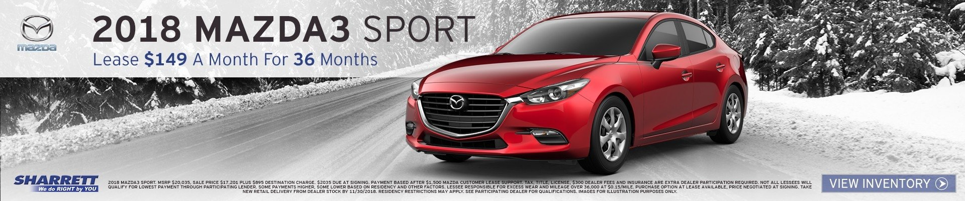 Get a new 2018 Mazda3 Sport for $149/mo for 36 months at Sharrett Mazda