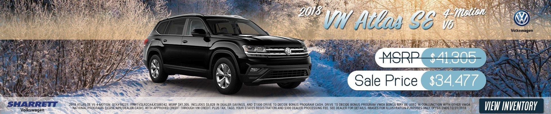 2018 VW Atlas SE $-Motion V6 for $34,477