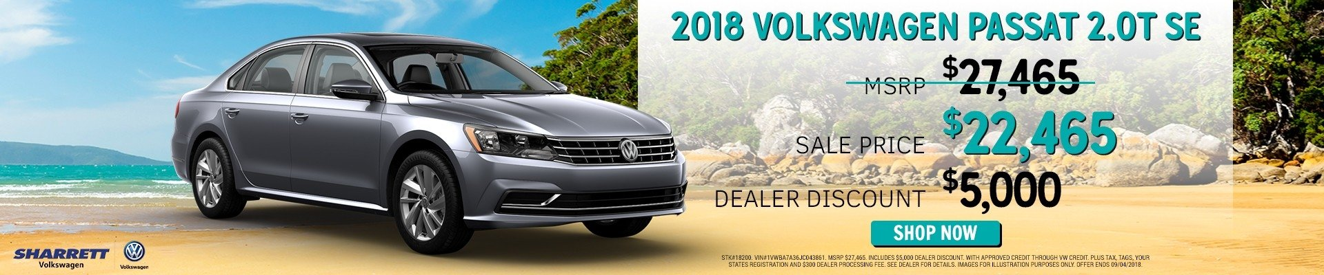 Save $5000 on a new 2018 VW Passat 2.0T SE | Sharrett Volkswagen