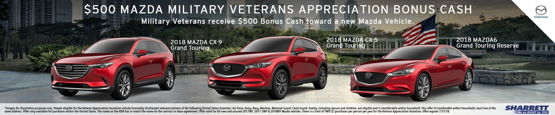 Military Veterans receive $500 Bonus Cash toward a new Mazda Vehicle at Sharrett Mazda