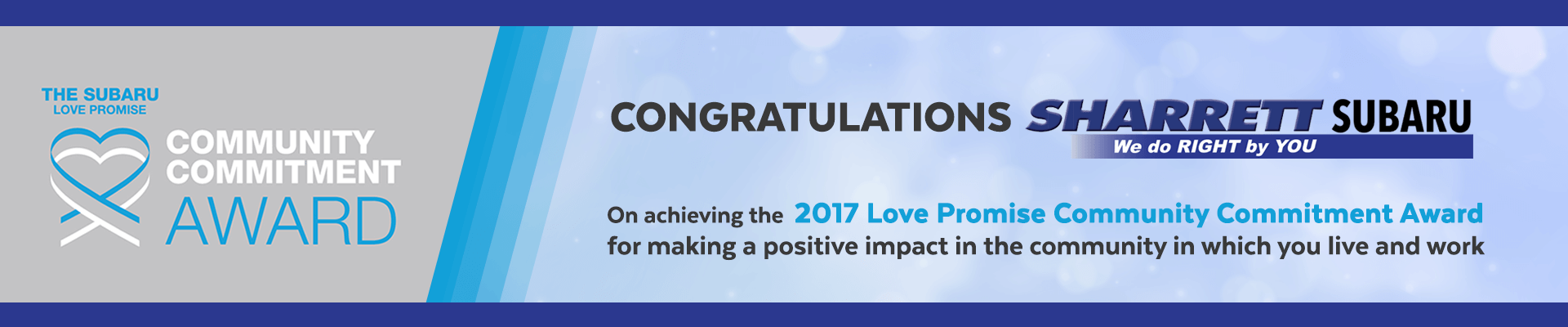 Subaru 2017 Love Promise Community Commitment Award