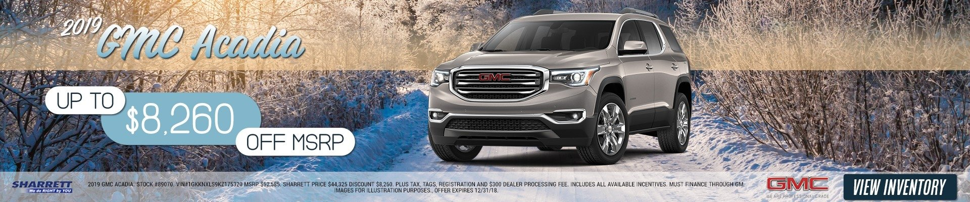 Up to $8,260 off MSRP on a 2019 GMC Acadia
