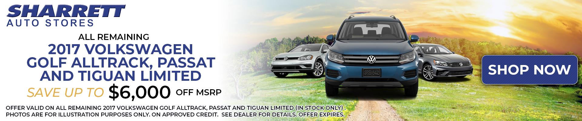 2017 Volkswagen Golf Alltrack, Passat and Tiguan Limited