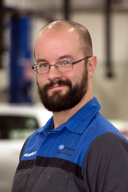 Subaru Technician Nate McCleaf in Service at Sharrett Auto Stores