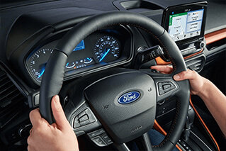steering wheel with various hand controls on this 2018 ford ecosport se