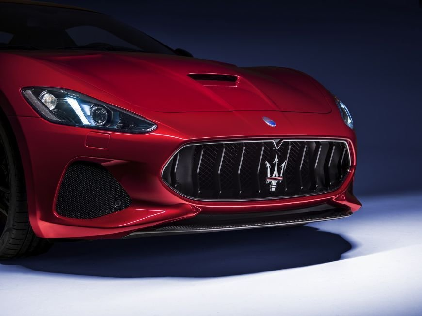 stylish frontend on this red 2018 maserati granturismo