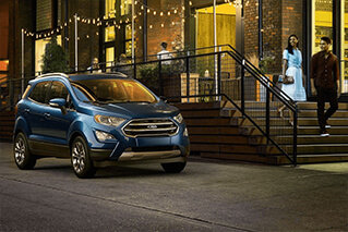 blue 2018 ford ecosport sitting out front of Asheville Ford