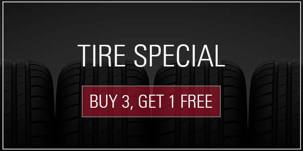 Coupon for Buy 3, Get 1 Free on all tires with the purchase of a 4 wheel alignment and tire installation