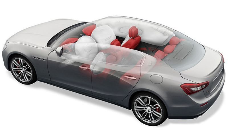 image showing all of the airbags found in the new 2018 maserati ghibli
