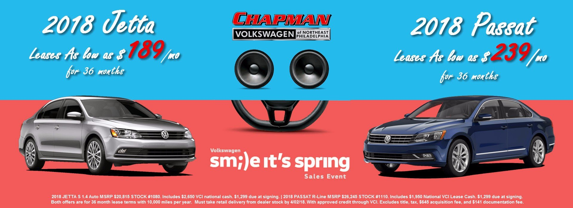 sm;)e it's spring Sales Event lease offers are here for your choice of a brand-new 2018 VW Jetta or Passat!