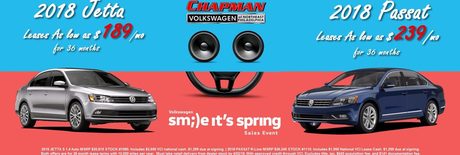 Smile, it's Spring at Chapman VW! Lease a new 2018 Jetta or Passat for less!