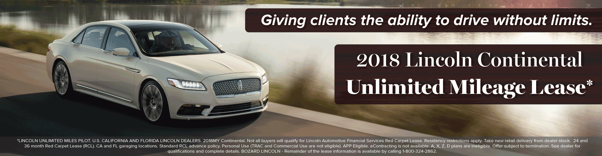 Unlimited Mileage Lease on 2018 Lincoln Continental at Bozard Lincoln of North Florida