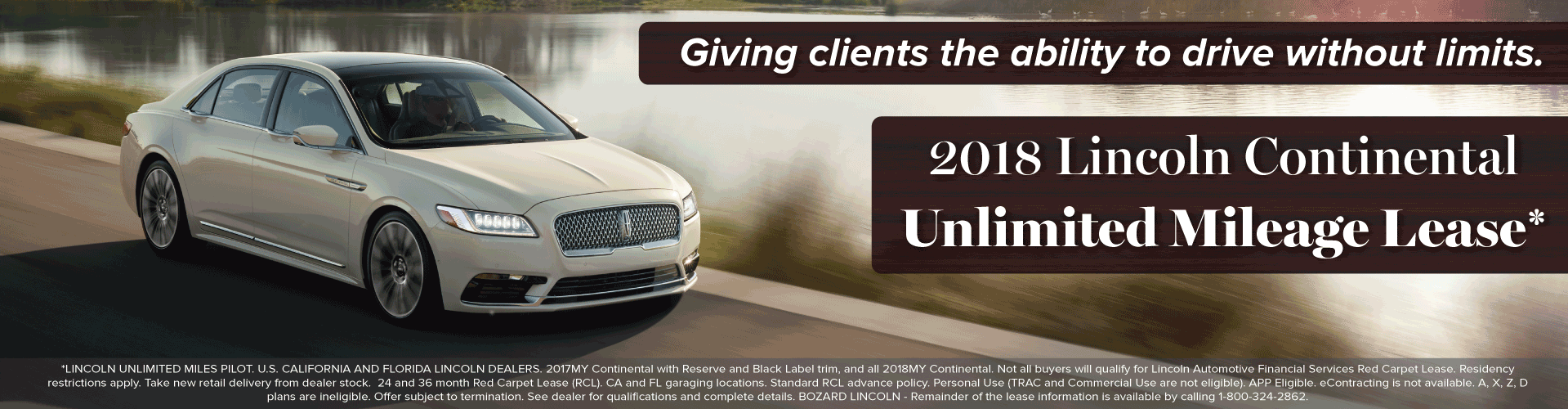 2018 Lincoln Continental Unlimited Mileage Lease