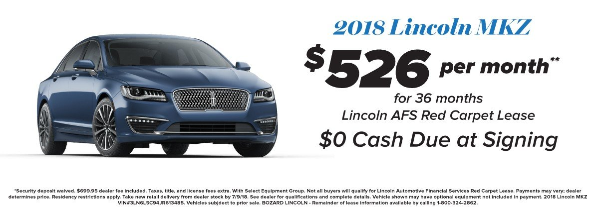 Lincoln  Unlimited Mileage Lease Offer Lincoln MKZ 6-2018