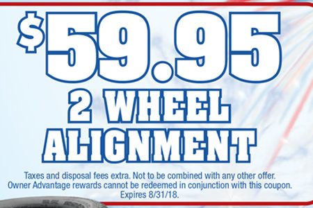 Coupon for $59.95 2 Wheel Alignment