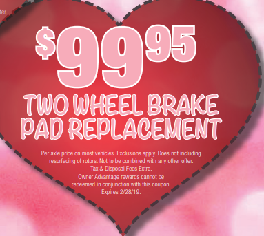 Coupon for Two Wheel Brake Pad Replacement