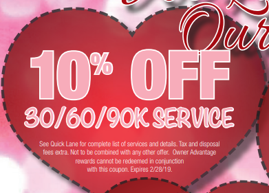 Coupon for 10% Off 30/60/90K Service