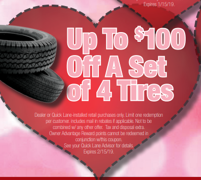 Coupon for Up to $140 Off a Set of 4 Tires