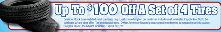 Coupon for Up to $100 Off a Set of 4 Tires