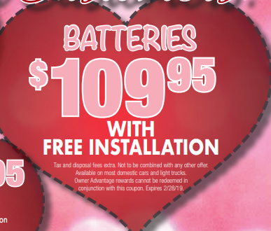 Coupon for Batteries with free installation