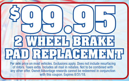 Coupon for $99.95 2 Wheel Brake Pad Replacement