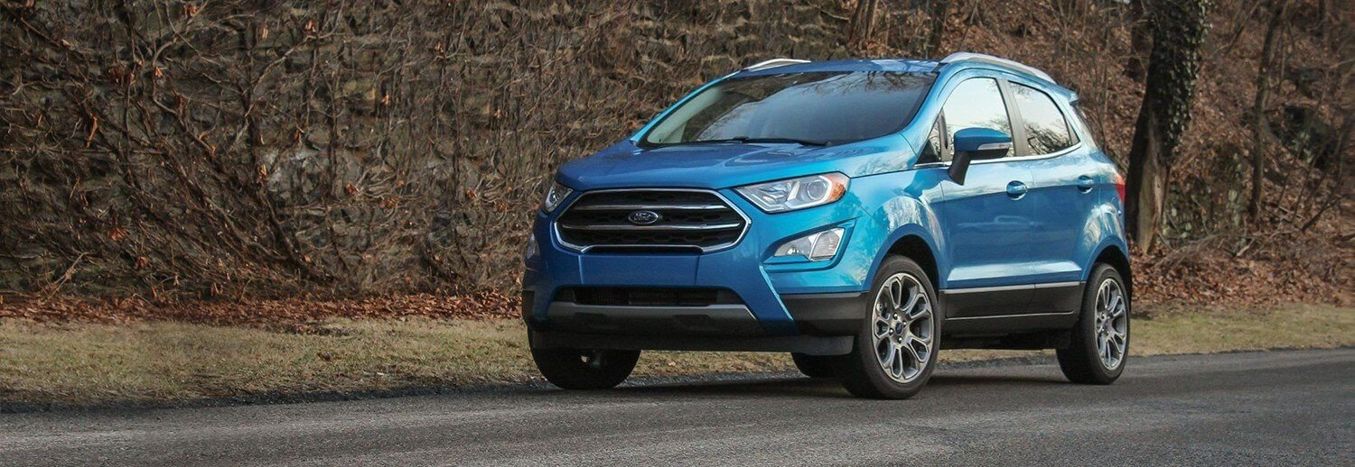 new 2018 ford ecosport suv on a dirt road in Asheville NC