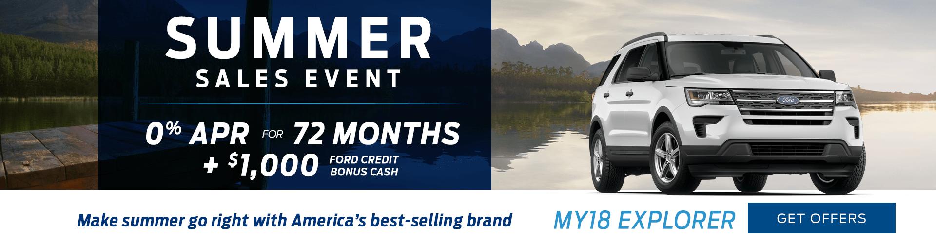 Special offer on 2018 Ford Explorer 2018 Ford Explorer Summer Sales Event Offer