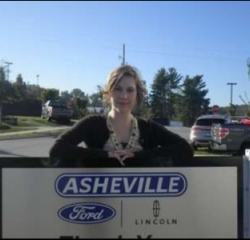 Tag & Title Clerk Alicia Wood in Office at Asheville Ford