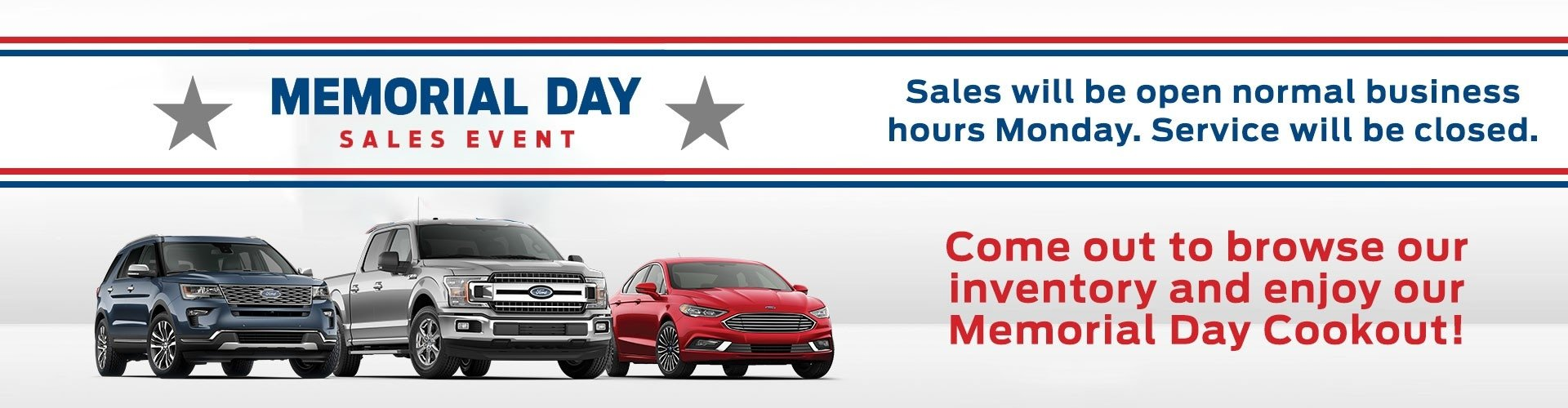 memorial day sales event with business hours