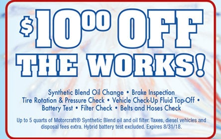 Coupon for $10 Off The Works!
