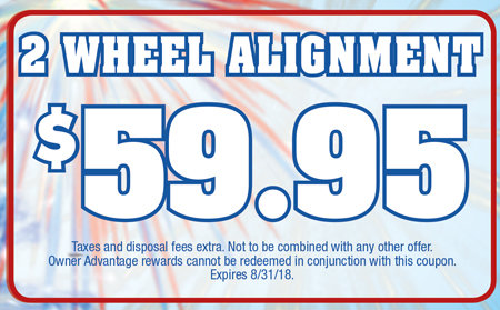 Coupon for 2 Wheel Alignment $59.95