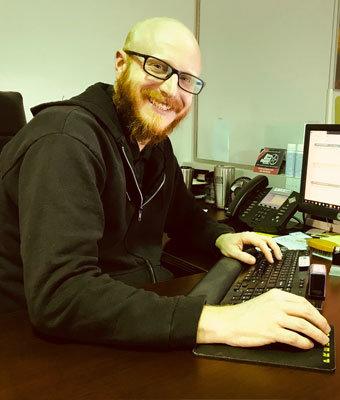 Service Advisor Nik Argiro in Service at Stivers Decatur Subaru