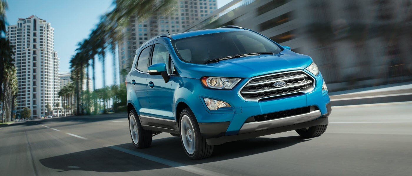 2020 Blue Ford EcoSport Driving