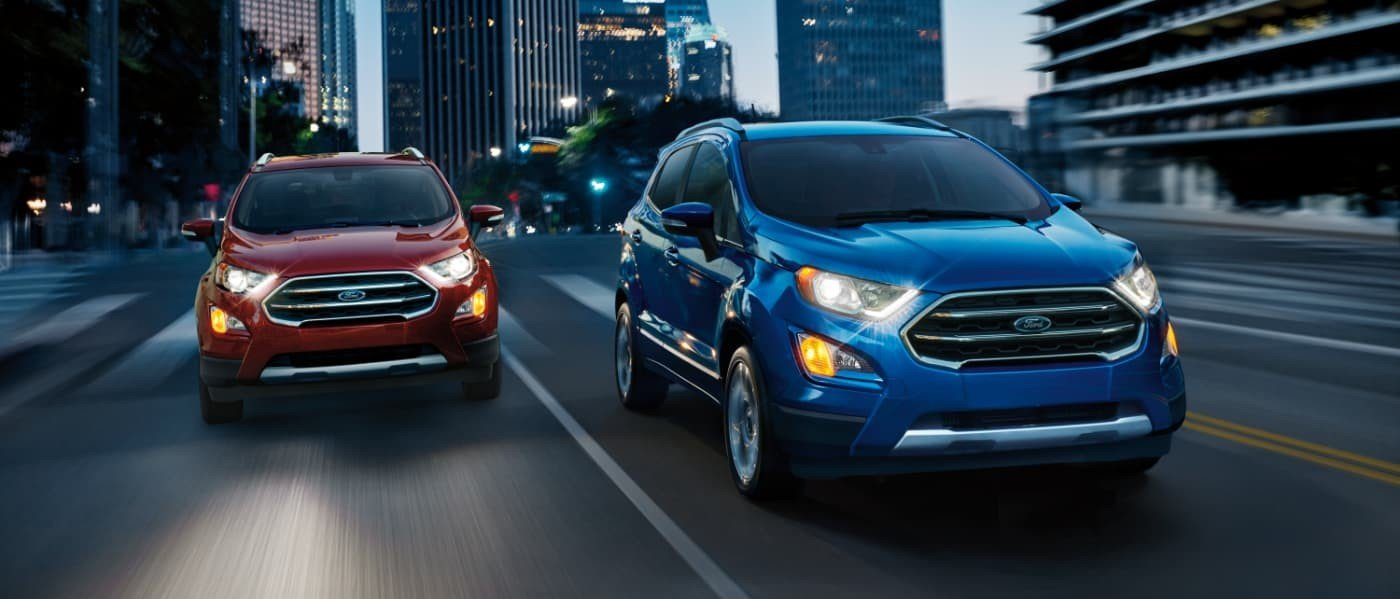 Red & Blue 2020 Ford EcoSports Driving Side By Side