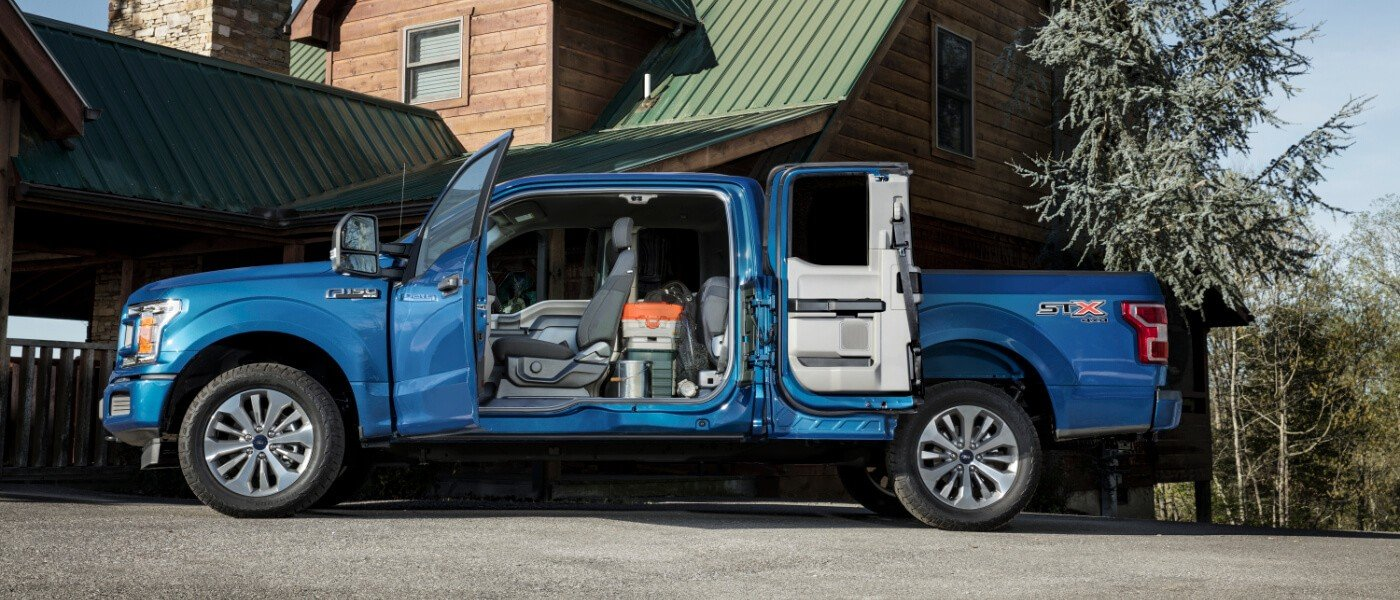 2020 Blue Ford F-150 With Doors Open