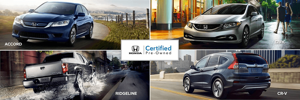 collage of certified used honda accord, civic, ridgeline truck and crv vehicles