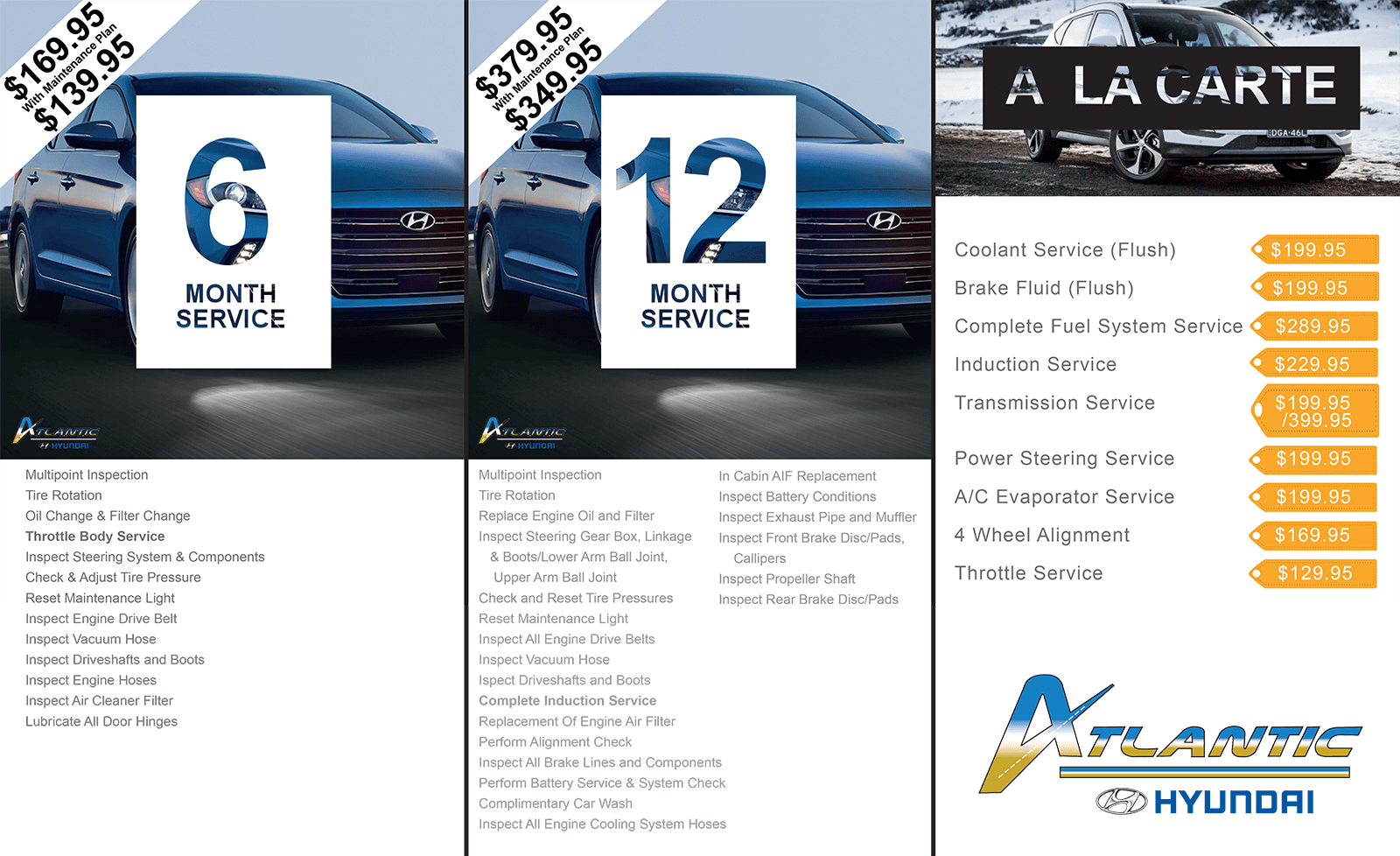 Atlantic Hyundai Service Menu