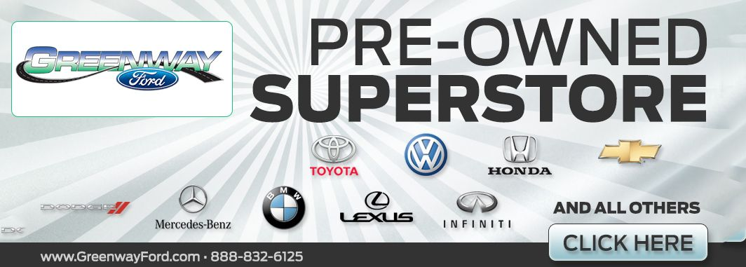 Greenway pre-owned super store banner showing all vehicle manufacturers for sale