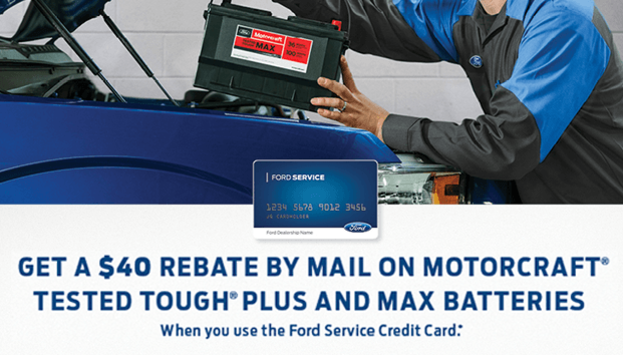 Up to $40 Rebate by Mail on Motorcraft Batteries