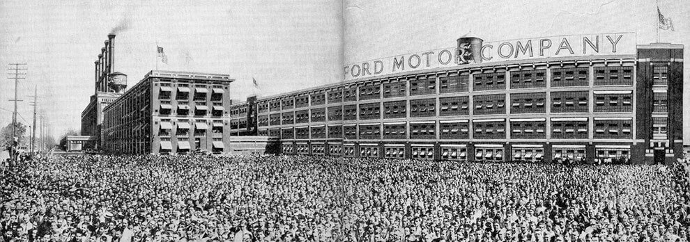 Ford Motor Company old building with their employees