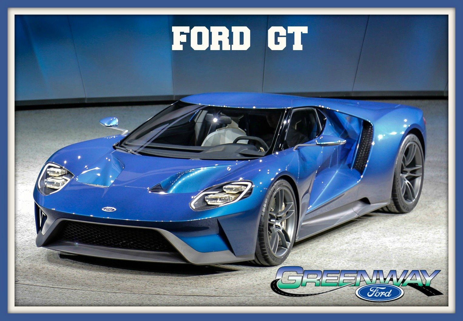 Blue 2017 Ford GT outside of Orlando